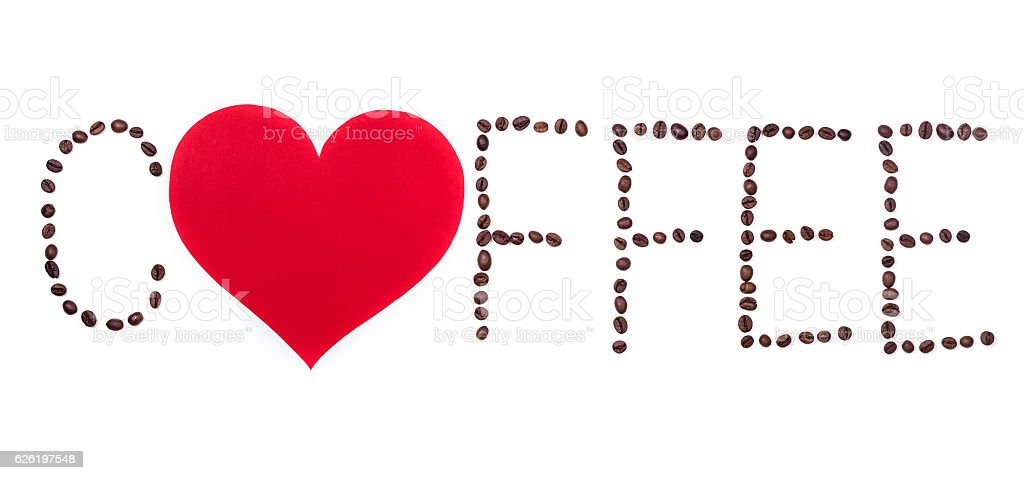 Coffeebeans text with heart on white background stock photo