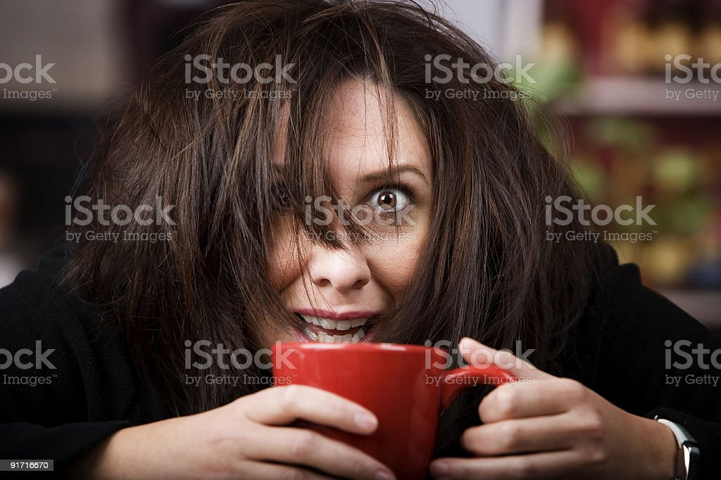 Coffee-Crazed Woman stock photo
