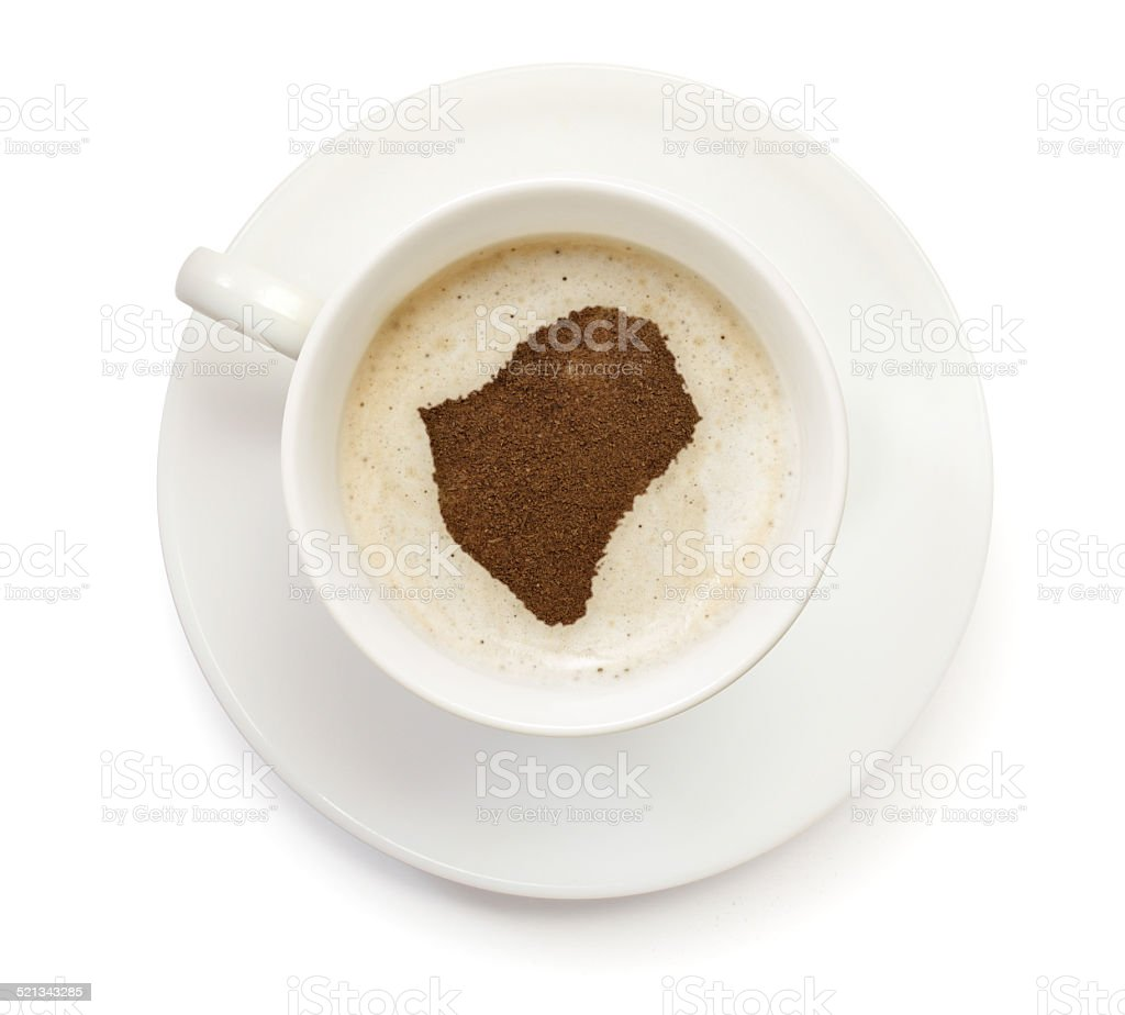 Coffeecup with powder in the shape of Burundi stock photo