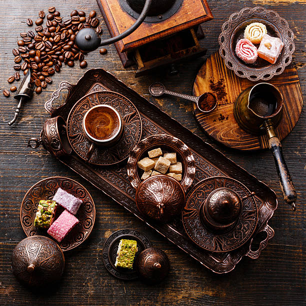 Coffee-east and Turkish Delight stock photo