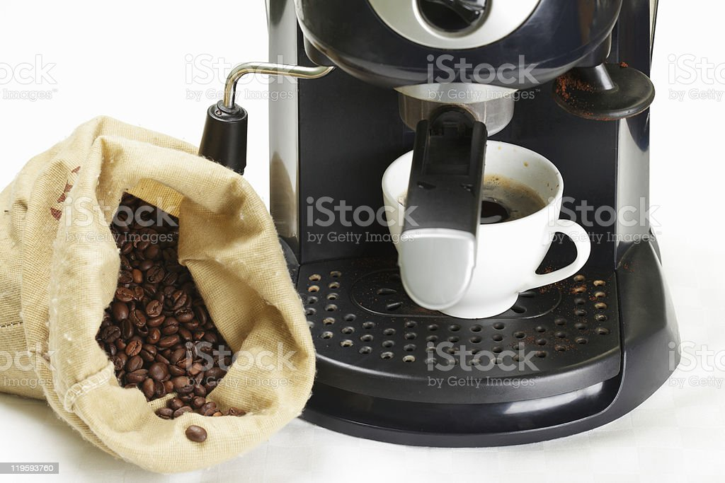 Coffee-machine and crop royalty-free stock photo