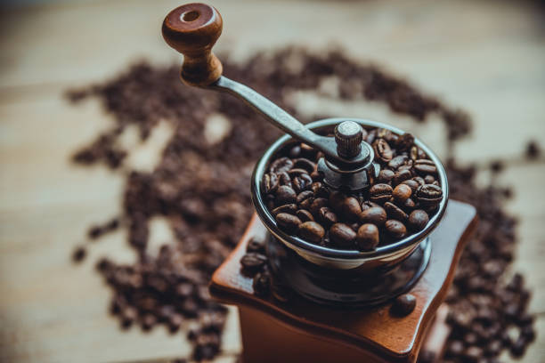 coffees on wood board coffees on wood board grinding stock pictures, royalty-free photos & images