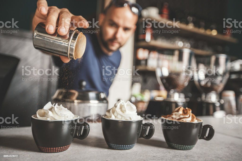 Coffees with different flavours stock photo