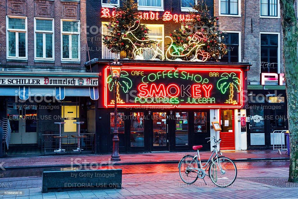 Coffeeshop Smokey cannabis coffee shop in Amsterdam stock photo