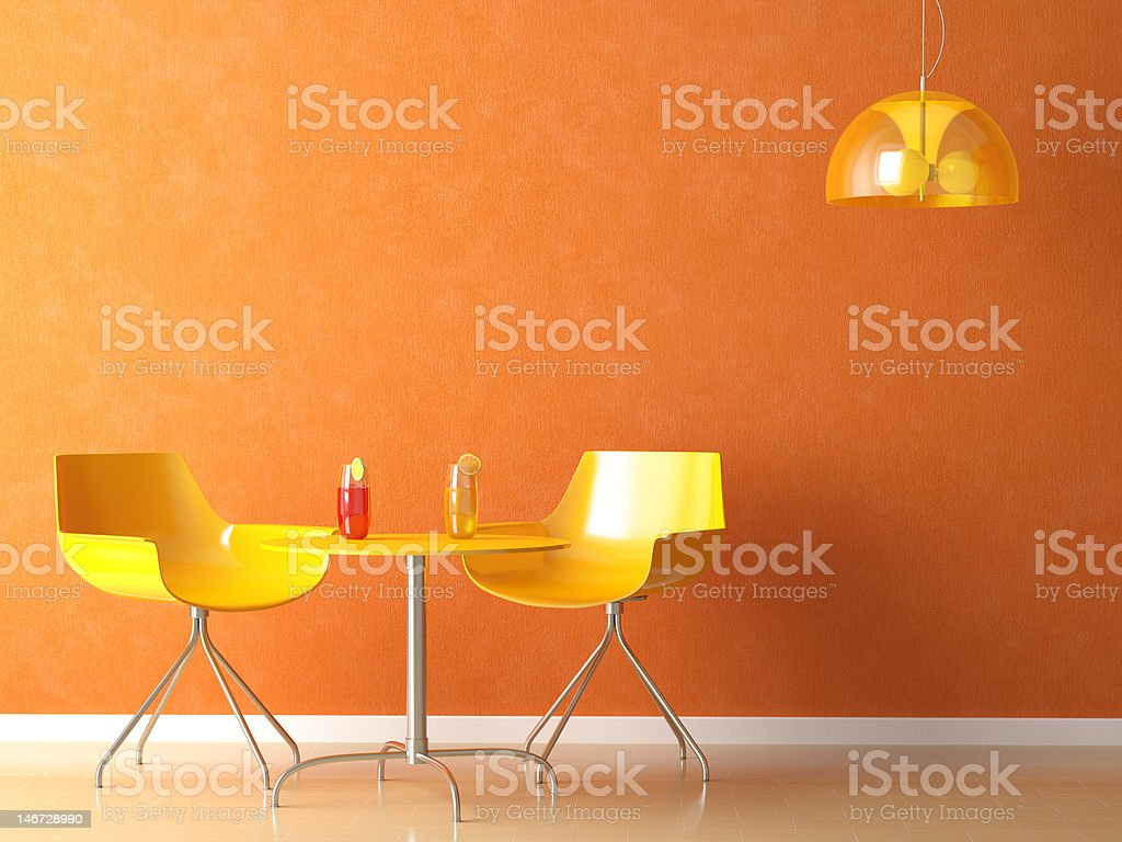 Coffee-shop teble and chair stock photo