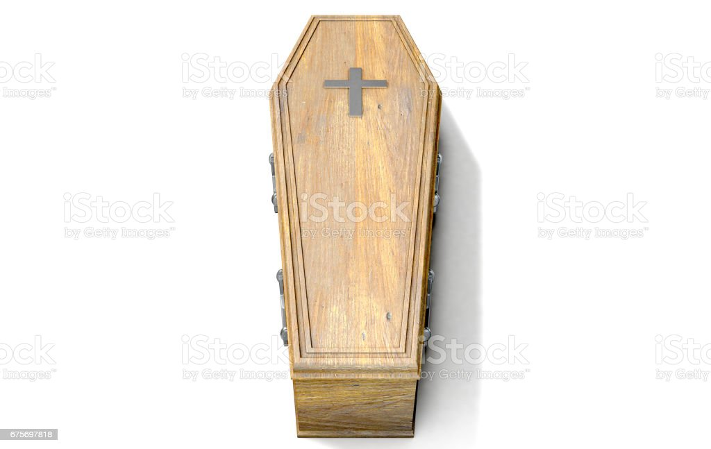 Coffin And Crucifix stock photo