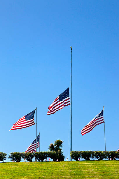 Coffin Flags at Half Mast stock photo