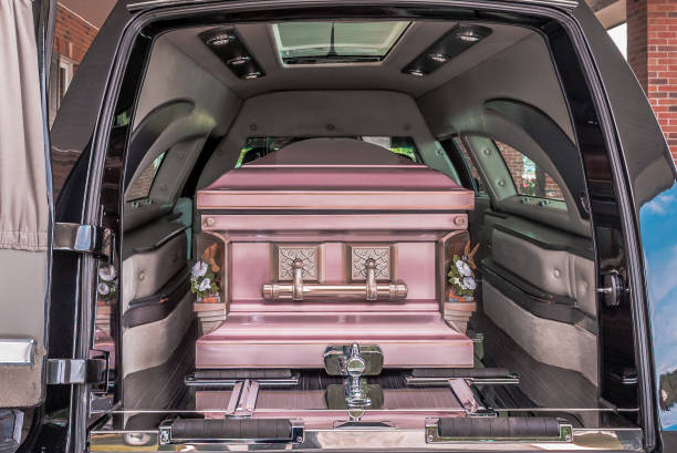 Coffin in a hearse stock photo