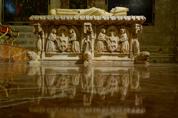 coffin Inside Cathedral Sevilla stock photo