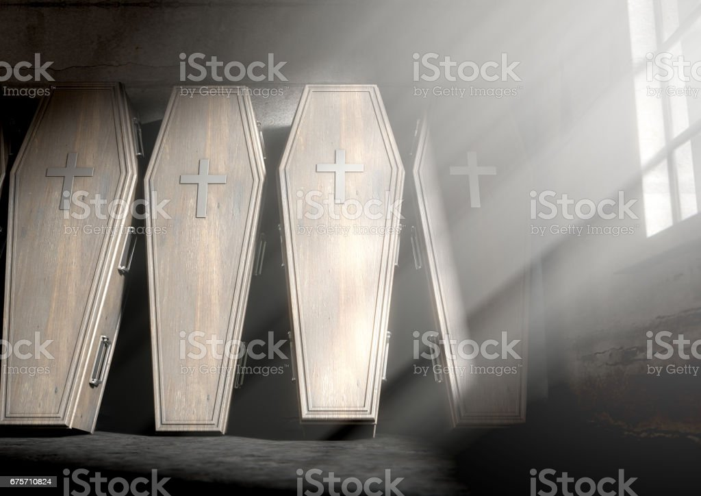 Coffin Row In A Room royalty-free stock photo