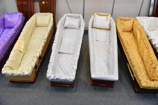 Coffins stock photo