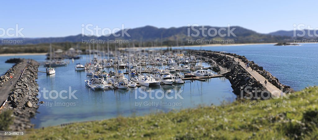 Coffs Harbour boat marina tilt shift stock photo