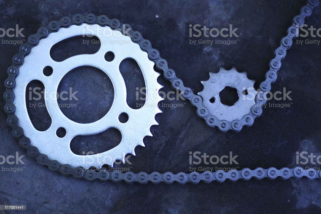 Cog and Chain (low key) royalty-free stock photo