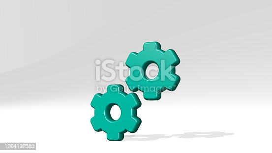 istock cog double made by 3D illustration of a shiny metallic sculpture with the shadow on light background. gear and cogwheel 1264192383
