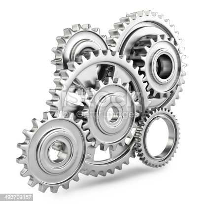 Cog gears mechanism concept. 3d. Isolated on white background