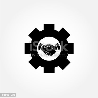 istock Cog or gear icon with handshake sign 538967203