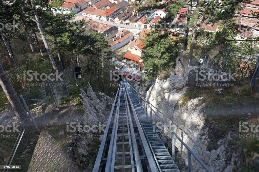 cog railway  cable car of Rasnov in Romania stock photo