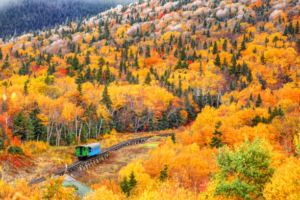 Cog railway train climbing Mt Washington Cog railway train on Mt Washington in New Hampshire climbing through autumn foliage. white mountains new hampshire stock pictures, royalty-free photos & images