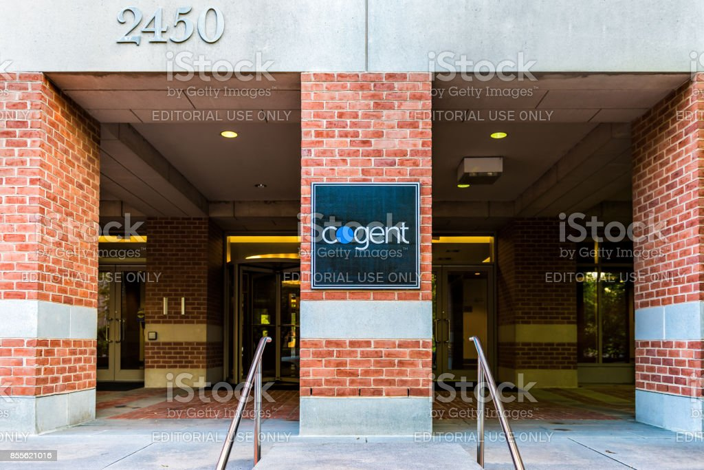 Cogent sign on building exterior, a corporation Internet Service Provider, delivering Internet, Ethernet and Colocation services stock photo