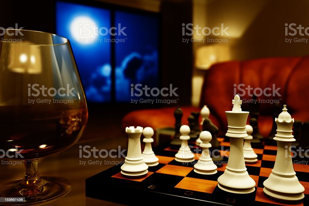 cognac and chess royalty-free stock photo