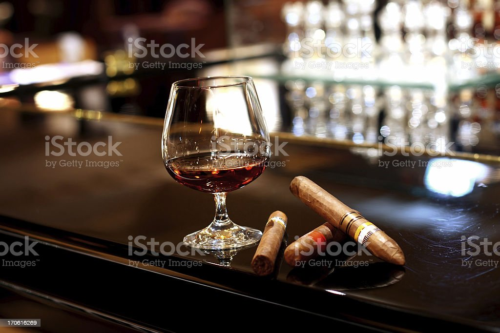 Cognac and Cigars stock photo