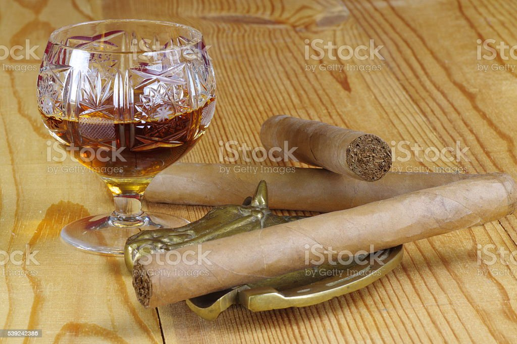 Cognac and cigars royalty-free stock photo