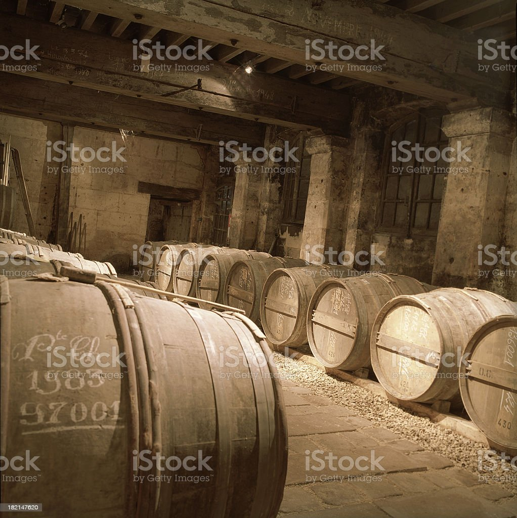 Cognac cellar stock photo