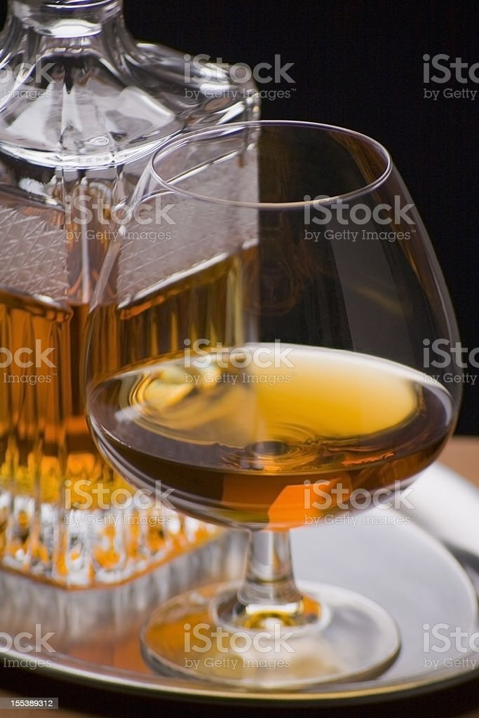 Cognac glass with decanter stock photo
