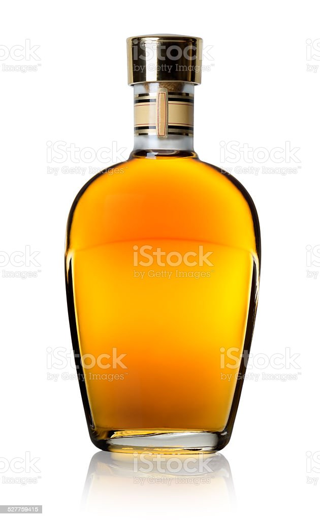 Cognac in a bottle stock photo