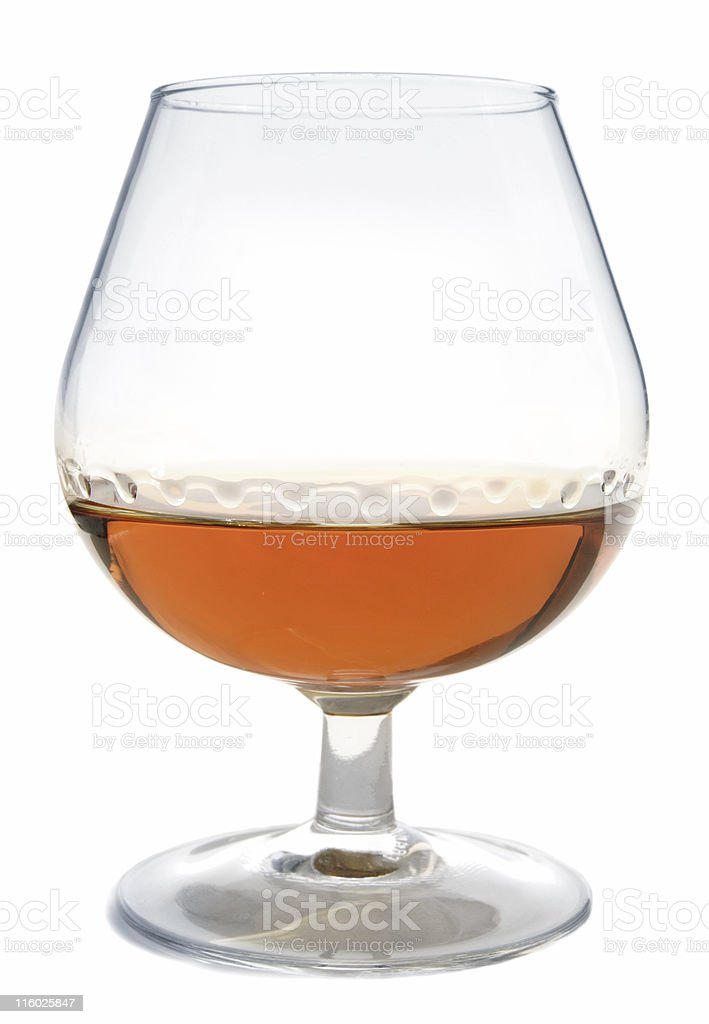 cognac (swirled), isolated on white royalty-free stock photo