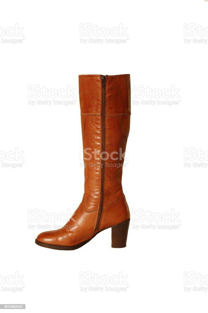 b2f298a4f5f1d Cognac Leather Womens Boots Italian Handmade Stock Photo - Download ...
