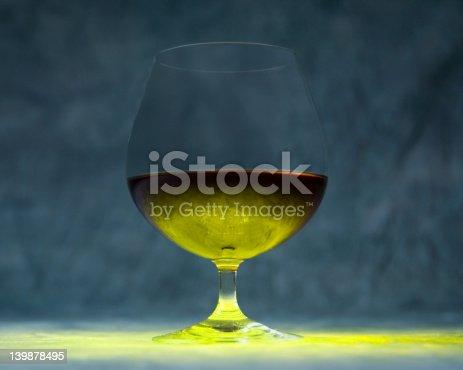 Liquid in a snifter glass lit from below, beautiful textures