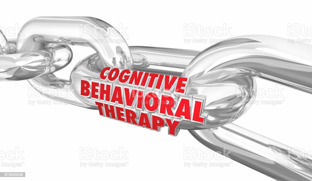 Cognitive Behavioral Therapy Chain Links Treatment Words 3d Render Illustration stock photo