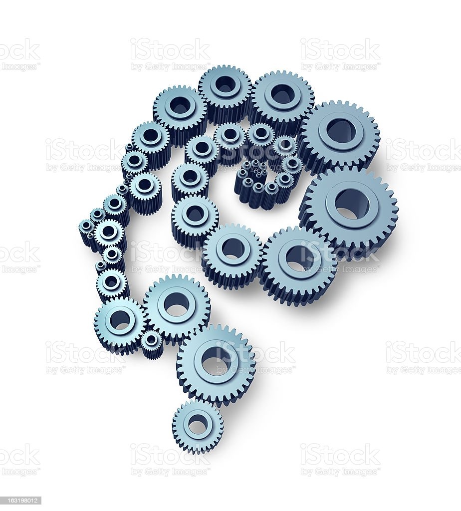 Cogs and gears in shape of a person royalty-free stock photo