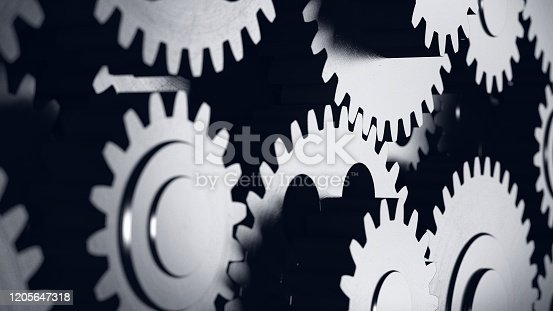 Cogwheel. Gear mechanism. Business cooperation concept. Multiple objects. Metaphor. Industrial engineering. 3d illustration.