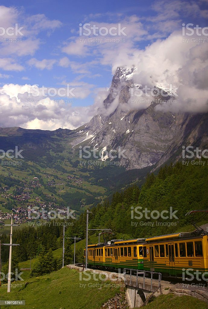 Cog-wheel train in the Swiss Alps royalty-free stock photo