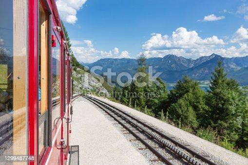 Cogwheel train to top Schafberg near Austrian Sankt Wolfgang am Wolfgangsee