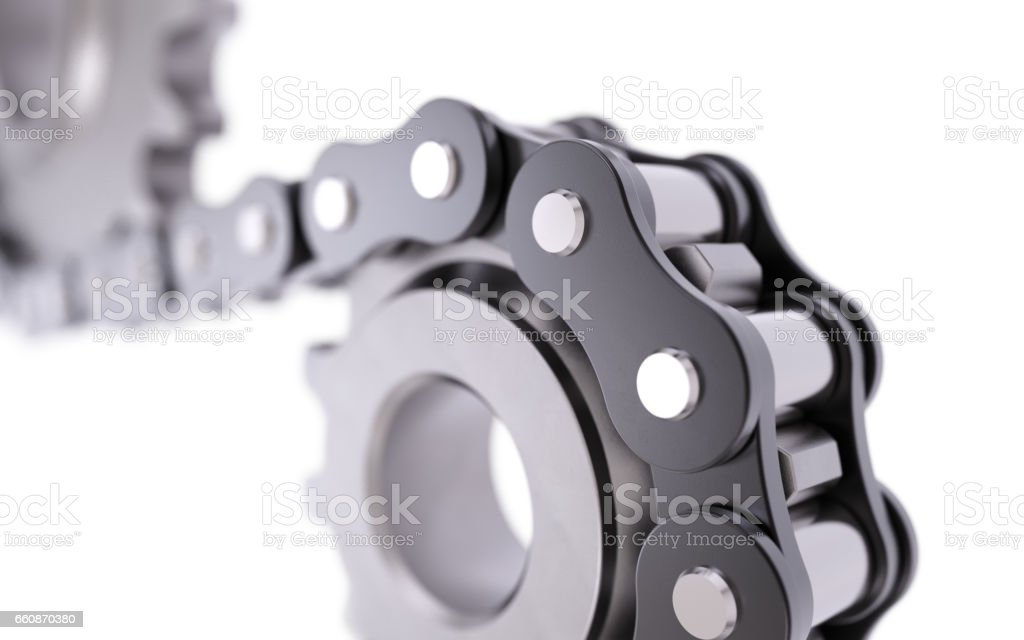 Cogwheel with chain stock photo