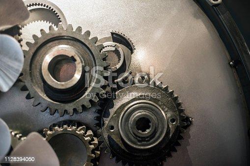 Metal surface of a machine cogwheels.
