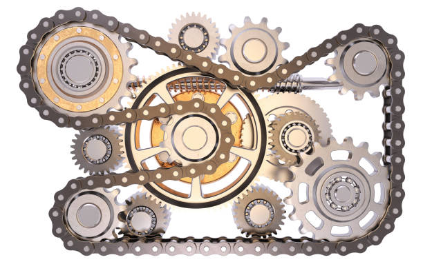 cogwheels - chain object stock photos and pictures