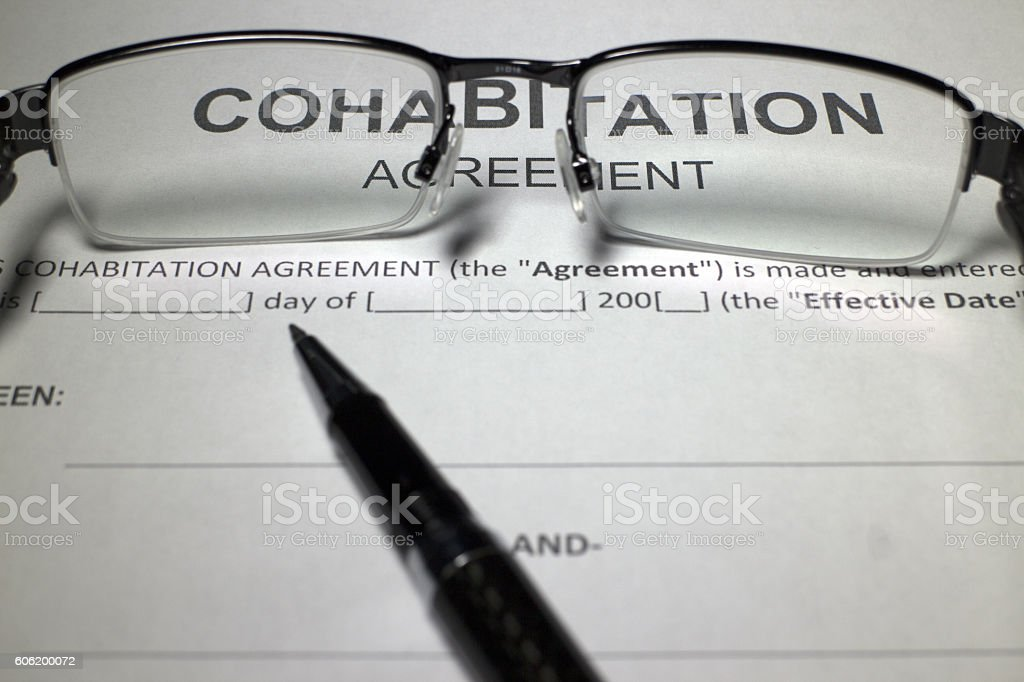 Cohabitation Agreement Document stock photo