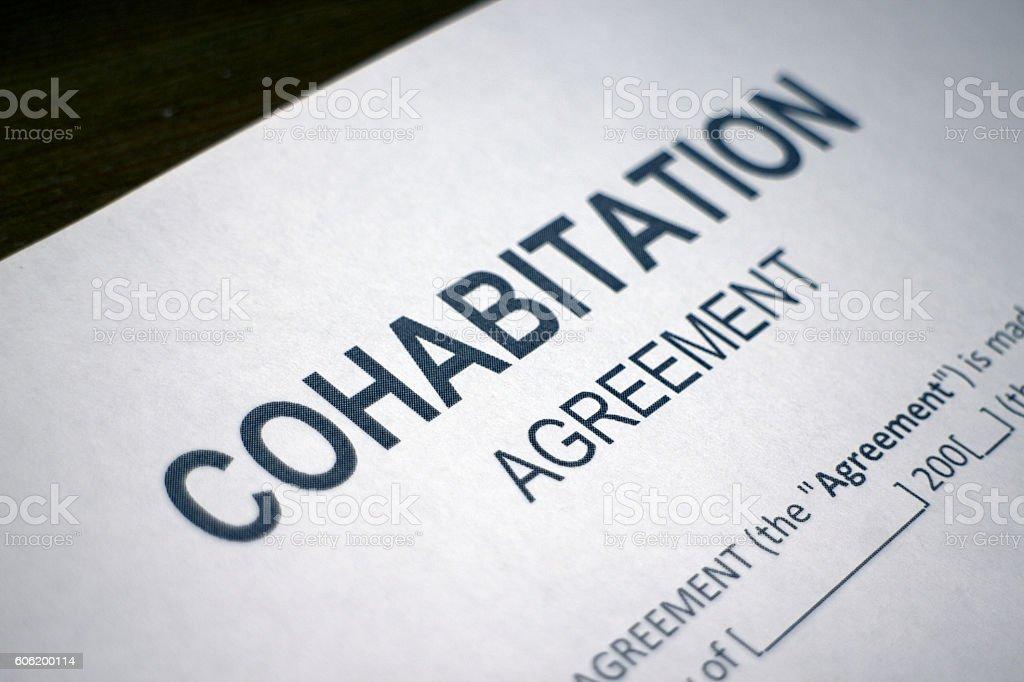 Cohabitation Agreement Form stock photo
