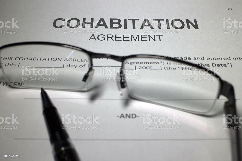 Cohabitation Agreement stock photo