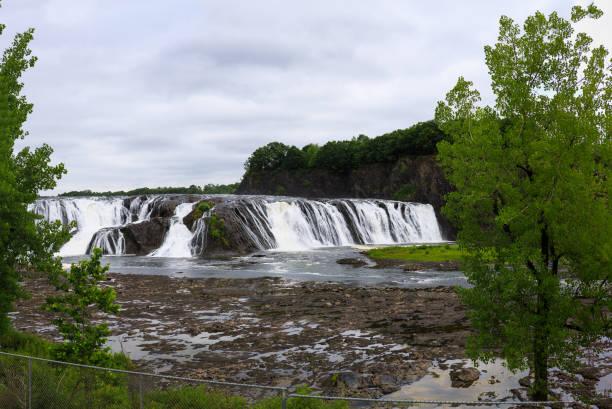 Cohoes Falls, Cohoes NY on rainy day stock photo