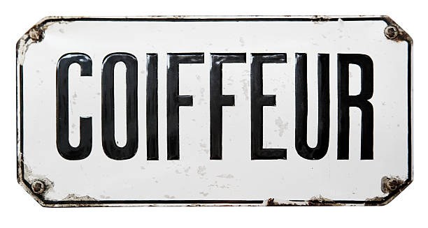 coiffeur (hairdresser) signboard - enamel stock photos and pictures