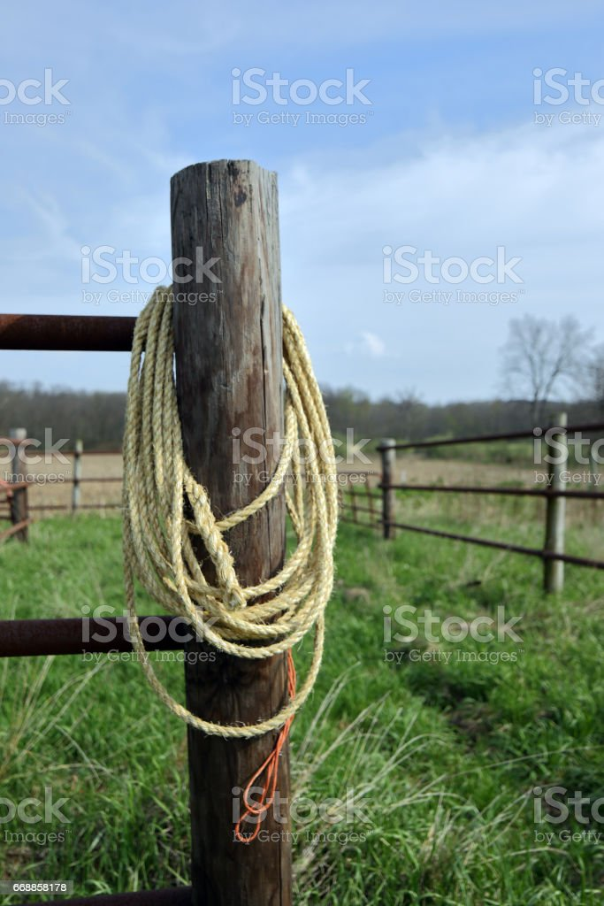 A Coil Of Sisal Rope Fashioned Into A Lasso Hangs On The