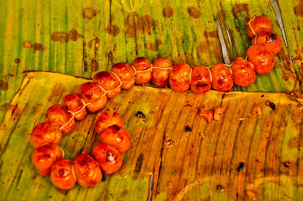 Coil of Traditional Thailand Sausage on banaba leaf stock photo
