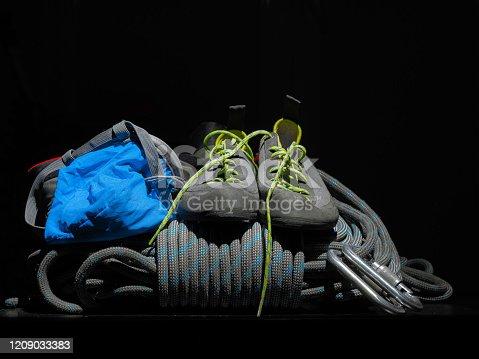 Main alpinist equipment or climbing tools.
