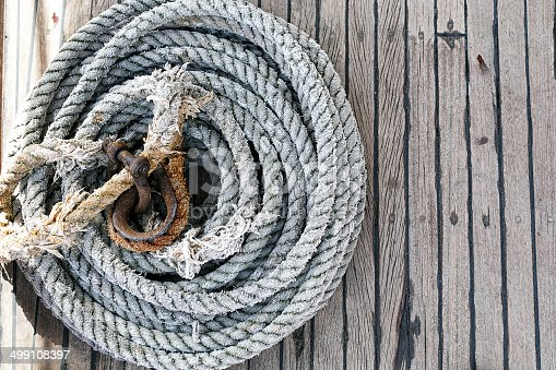 Overhead view of neatly coiled rope on a wooden deck with an attached rusted clasp and copyspace to the right