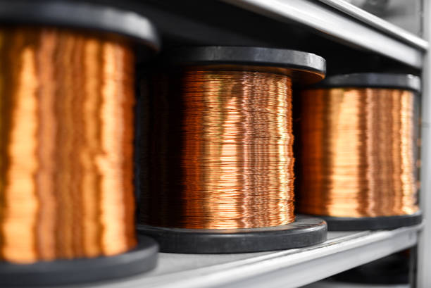 coils of copper in close up - copper stock photos and pictures